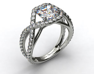 18K White Gold Engagement Ring with Braided Pave Overlay